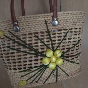 Handbags - Vintage hand woven market basket